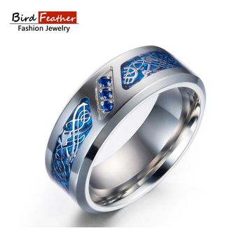 Bird Feather Stainless Steel Men Rings Dragon Lines Titanium Rings for Women Cool Design Punk Fashion Jewelry Woman Wedding Ring