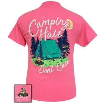 Girlie Girl Preppy Camping Hair Don't Care Pink T-Shirt