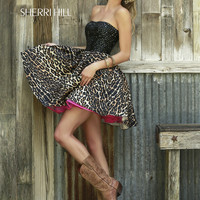 Sherri Hill Leopard Skirt Prom Party Dress 32146