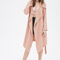 FOREVER 21 Open-Front Duster Coat Blush