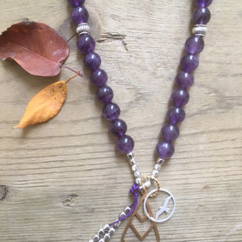 Amethyst Gemstone Silver, 108 Mala Beads, Yoga and Meditation Jewelry, Bohemian Necklace, Healing Crystals, Earth Jewelry, Canadian Made