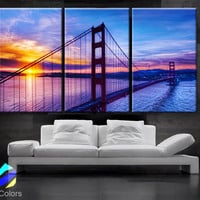 "LARGE 30""x 60"" 3 Panels Art Canvas Print Beautiful Golden Gate Bridge San Francisco California sunset Wall Home (Included framed 1.5"" depth)"