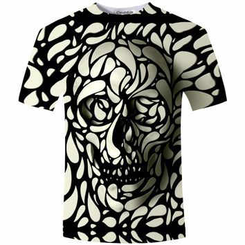 New Design Skull 3d Print Men  Fashion 3D Skull T-Shirt