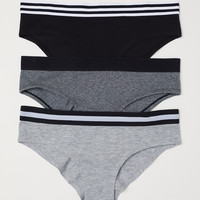 3-pack Cotton-blend Briefs - Black/black melange - Ladies | H&M US