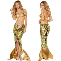 Mermaids Costume  Party Nightclub Halloween Clothing Set Fashion Fishtail skirt+Bra Gold