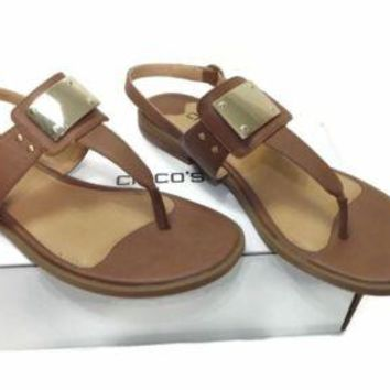 Chicos womens TELSA Brown Tan Sandals Shoes Size 8 M w/ Gold Buckle Rt. $89