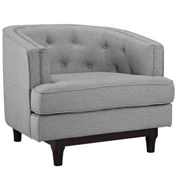 Modway Coast Armchair in Tufted Light Gray Fabric on Walnut Finish Legs