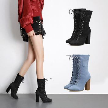 On Sale Hot Deal High Heel Dr. Martens Cross Strap Denim Boots [120846876697]