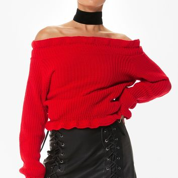robin red frill knitted bardot jumper