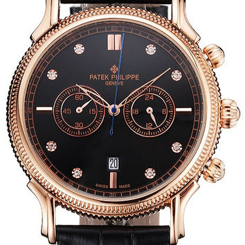 Patek Philippe Chronograph Black Dial With Diamonds Rose Gold Case Black Leather Strap