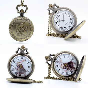 Vintage Bronze Alice in Wonderland The White Rabbit Dial Quartz Pocket Watch Analog Pendant Necklace Mens Womens Watches Gift