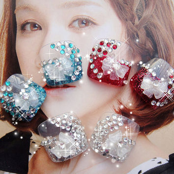 Queen of Hearts Japanese Kawaii Heart Himegyaru Bow Deco Bling toes Nails Art Set for Princess