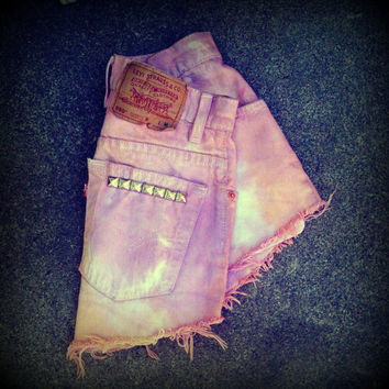 Vintage High Waisted Tie Dye Studded Levi's by TrueBlueDryGoods