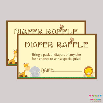 Safari Baby Shower Diaper Raffle Ticket Cards and Diaper Raffle Sign Printable Instant Download - Safari Diaper Raffle Tickets  - BS0001-N