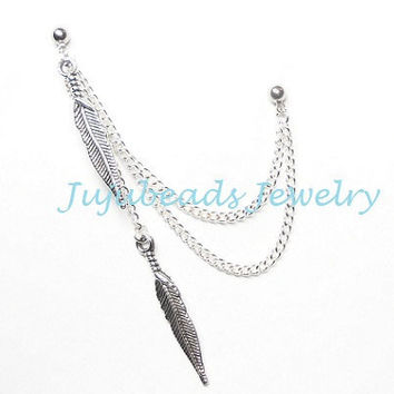 Feather Struck Silver Indian Feathers Double Piercing by jujubee4
