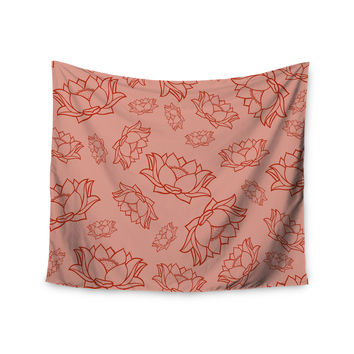 "KESS Original ""Lotus Pattern - Red"" Coral Floral Wall Tapestry"
