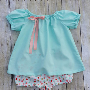 Mint Baby Girl Dress - Babys First Birthday Dress with Bloomers - Baby Photo Dress  - Baby Girls Shower gift Dress - Newborn Shower Gift