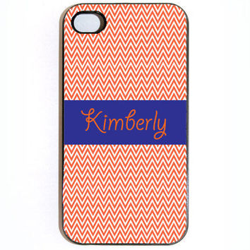 iPhone 4 4s Orange Chevron With Name Hard Snap On by KustomCases
