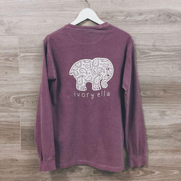 Women Ivory Ella Cartoon Elephant Printed Long Sleeve Top T-Shirt  Best Gifts