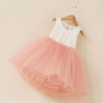 New 2018 Flower Girl Party Dress Baby Birthday Tutu Dresses for Girls Lace Baby Vest Baptism Dresses Pearls Kids Wedding Dress