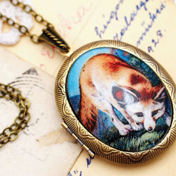 Red fox locket necklace, fox illustration, glass photo locket, keepsake necklace, woodland animal, Victorian necklace