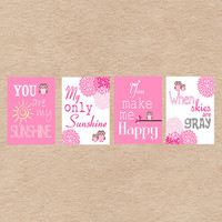 Owl Nursery Art DIY Printable- You Are My Sunshine Wall Art- Pink & Brown