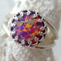Opal ring,Purple opal ring, Sterling silver ring or Gold plated ring, Gemstone ring, October birthstone ring,Vintage ring, Multi color ring