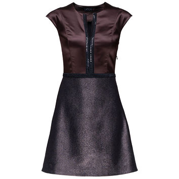 Flirty Sleeveless Brown Wool Mini Dress