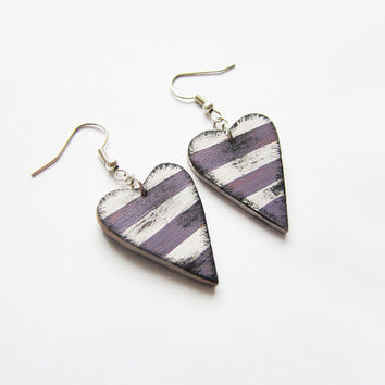Retro wooden earrings, earrings wood, stripes, hand painted, handmade earrings