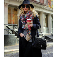 Plaid Blanket Scarf, Oversized Shawl
