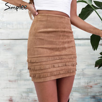 suede leather pencil skirt  high waist slim
