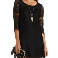 Eyelash Lace Shift Dress by Charlotte Russe - Black