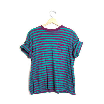 80s striped tshirt vintage basic boxy t shirt GREEN + PURPLE tee shirt Chest Pocket 1980s cotton striped top womens Large tomboy shirt