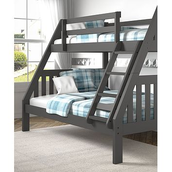 Lila Modern Grey Twin over Full Bunk Bed