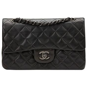 1996 Chanel Black Lambskin Vintage So Black Small Classic Double Flap Bag