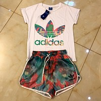 ADIDAS 2019 new classic clover camouflage printed women's camouflage sports suit two-piece white