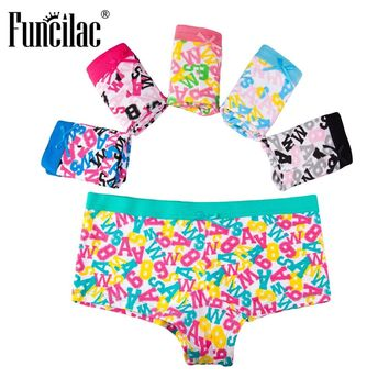 FUNCILAC Boyshorts Women Underwear Panties Cotton Letter Print Sexy Lingerie Underpants Ladies Intimates Briefs 5pcs/lot