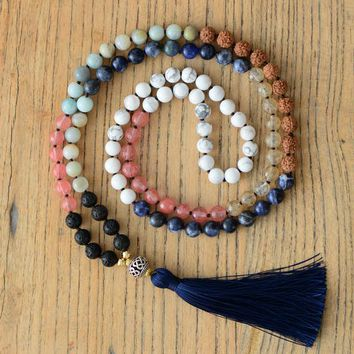 Beads Knot Necklace Natural Stones Tibetan Charm Long Tassel Mala Necklace Women Meditation Yoga 7 Chakra Necklace
