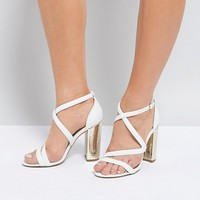 Miss KG Cross Strap Metallic Block Heel Sandal at asos.com