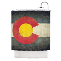"Bruce Stanfield ""State Flag of Colorado"" Black Red Shower Curtain"