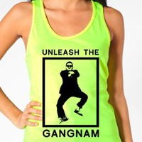 "Gangnam Style Shirts - ""Unleash the Gangnam"" - Women's Neon Tanks and Tees - Bad Kids Clothing – Bad Kids Clothing"