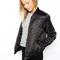 See U Soon Bomber Jacket with Metallic Quilting Effect - Black
