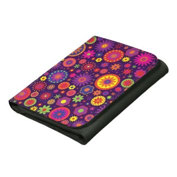 Hippie Purple Rainbow Flowers Leather Tri-fold Wallet