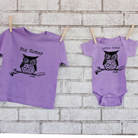 Big Sister Little Sister Owl Tshirt Set, Light Purple, Pastel  Hand Printed Short Sleeved Tshirt and Onepiece, Woodland Animal, Sibling Gift