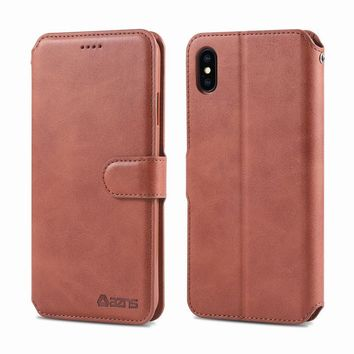 """Case For iPhone XS Max Cover 6.5"""" Luxury PU Leather Bookcase With 5 Slots Wallet Case For Coque iPhone XS Max Phone Bags Black"""