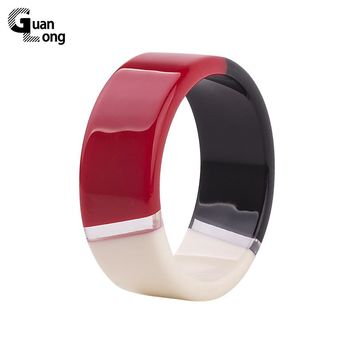 GuanLong Brand Design Colorful Lucite Resin Bangles Bracelets For Office Ladies Fashion Bangle Jewelry drop shipping