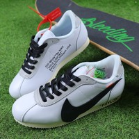 2018 OFF WHITE x Nike Classic Cortez Leather Sport Running Shoes White Black Shoes - Best Online Sale
