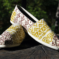custom tribal TOMS shoes hand painted by lonechimney on Etsy