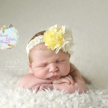 15%OFF Cream Ivory Yellow Headband, Fancy Baby Headband, Flower Girl Headband, Spring Hair Bows, Lace Hair Clip, Newborn Photo Prop, Infant