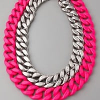 Silver & Neon Chain Link Necklace